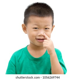 Happy Asian child pointing his nose and smiling. Portrait of young boy showing body parts isolated on white background.
