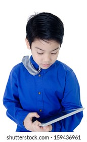 Happy Asian child with tablet computer on isolated background