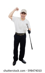 Happy Asian Chinese Male Golfer showing victory gesture in isolated white background.
