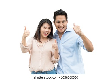 Happy Asian couple love excited smiling with thumb up gesture isolated pn white background