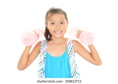 Happy Asian doing exercises