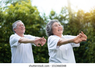 Happy Asian Elderly couple stretching hands before exercise over green nature at park outdoor. Happy Smiling old People in white shirts workout. Health care
