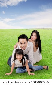 Happy asian family enjoying summer posing together on a meadow
