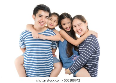 Happy Asian family on isolated white background, Happy family enjoying together