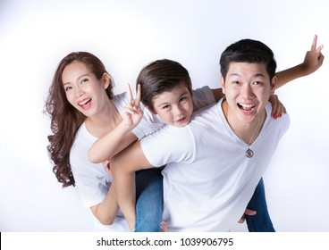 happy asian family with white t shirt white background isolated