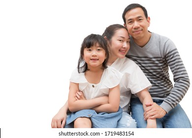 Happy Asian family woman and a man with little child smiling and fun isolated over white background