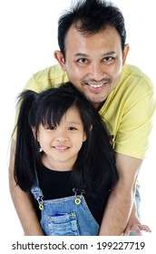 Happy asian Father and daughter smiling - isolated over a white background