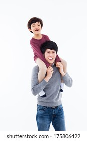 Happy Asian father and son isolated on white background.