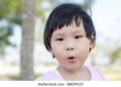 Happy Asian girl outdoor.