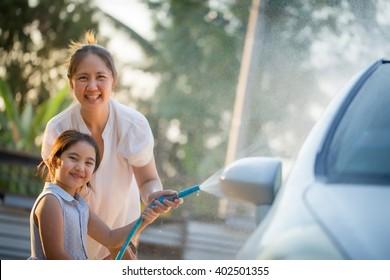 Point. asian lesbians washing car share