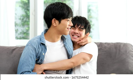 Happy asian homosexual gay male couple, Young asia boy, man lgbt in happy moment relationship, People diversity love lifestyle, LGBTQ pride concept