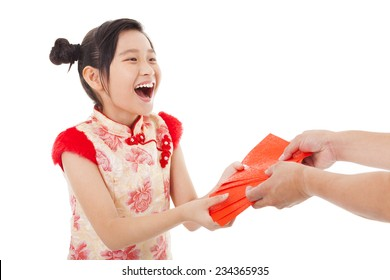 happy asian little girl received red envelope for  chinese new year