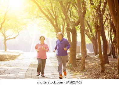 happy asian Senior Couple Exercising In the Park