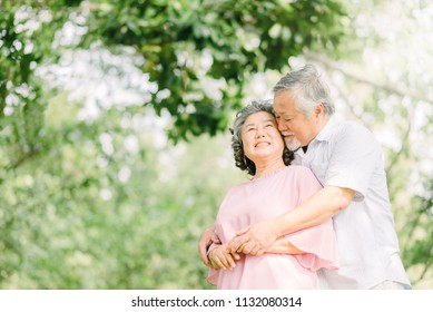 Happy Asian senior couple having a good time. They smiling while holding each other outdoor in the park.