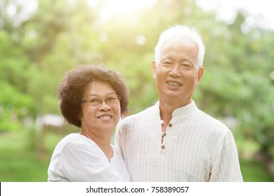 Happy Asian senior couple smiling in a park on a sunny day.