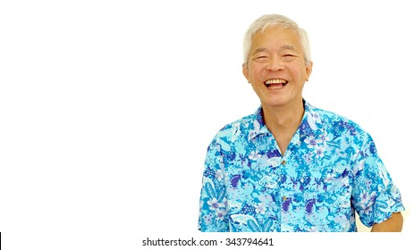 happy asian senior guy on blue hawaii shirt laughing on white isolate background