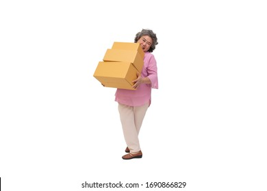 Happy asian senior woman holding package parcel box isolated on white background, Delivery courier and shipping service concept