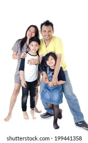 Happy asian smiling together, Father mother son and daughter- isolated over white