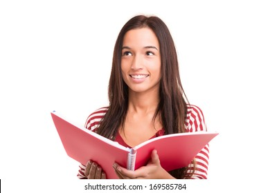 A happy asian student, isolated over a white background