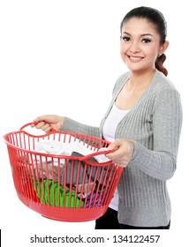 happy asian woman with a basket of loundry isolated over white background