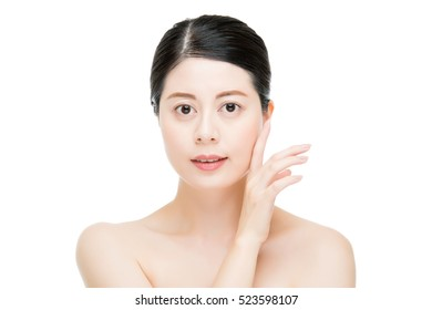 happy asian woman model hand touch perfect skin face. isolated on white background. fashion and beauty skin care concept
