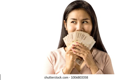 happy Asian woman smiling hand holding money standing isolated on white background plan to shopping