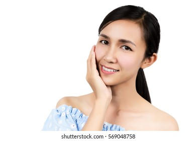 Happy asian woman touching her face isolated on white background