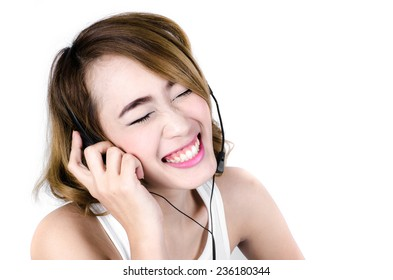 Happy Asian woman using headphone listening music,mp3 isolated on white.