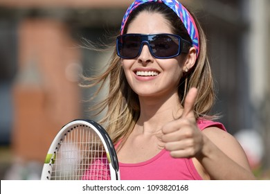 Happy Athlete Person Wearing Sportswear With Tennis Racket