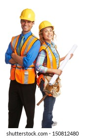 Happy attractive construction workers isolated on white background.