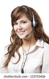 Happy and attractive customer support phone operator