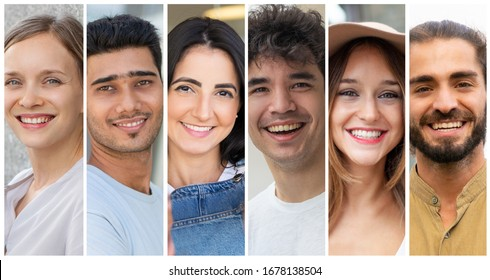 Happy attractive men and women portrait set. Smiling multiracial young people in casual multiple shot collage. Positive human emotions concept