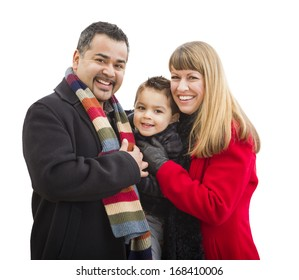 Happy Attractive Young Mixed Race Family Dressed in Winter Clothing Isolated on White.