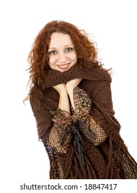 happy autumn girl with brown warm pullover