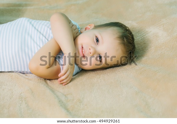 Happy Baby Boy Blue Eyes Blond Stock Photo Edit Now 494929261