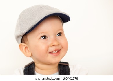 happy baby boy with hat