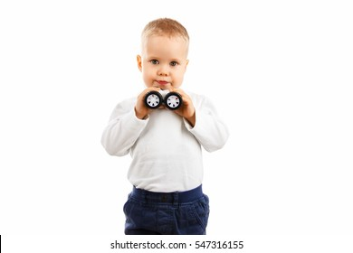 happy baby boy holding a toy car playing toy car on a white background