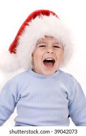 Happy baby christmas, isolated on white (studio shot)