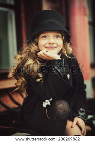 2a677a42ed6 Happy Baby Girl Black Hat Coat Stock Photo (Edit Now) 200269862 ...