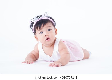 happy baby girl on white background  isolated