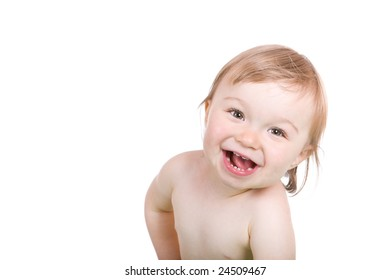 happy baby girl smiling. over white background