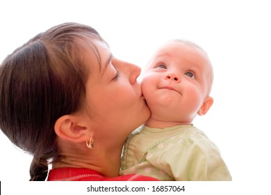 Happy baby with mom isolated on white