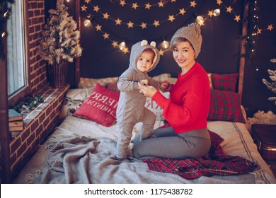 happy baby on room with christmas interior