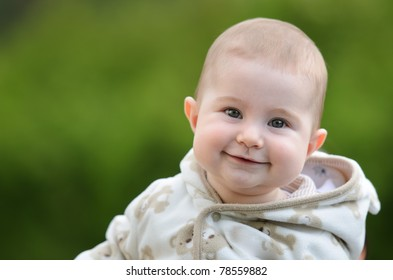 Happy baby outside