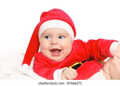 Happy baby Santa Claus