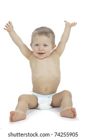 Happy baby sitting with arms raised