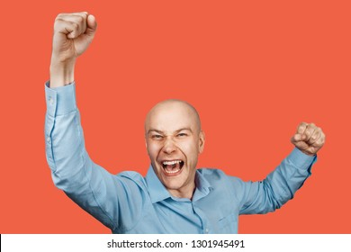 happy bald guy office worker glad to win