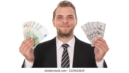 Happy Banker Man Showing  Camera Euro Bill Banknotes Money Vs American Dollars Usd Business Foreign Exchange Rate