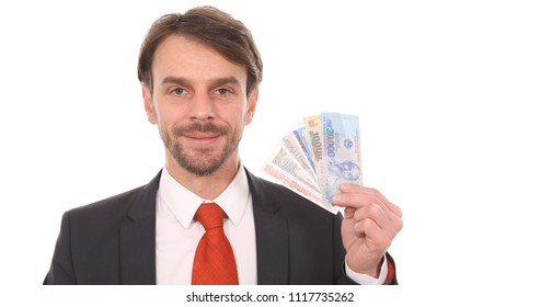 Happy Banker Man Showing Vietnamese Dong Banknotes Money Foreign Exchange Rates Concept