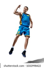 happy basketball player isolated in white